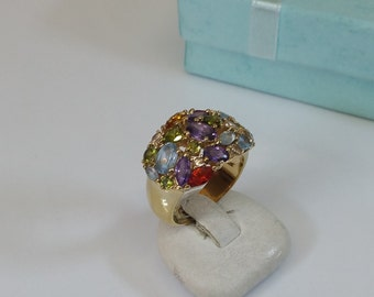 18 mm Ring Silver gilded crystals colorful SR672