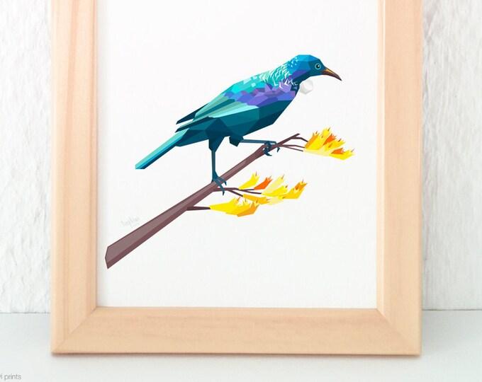 ON SALE A3 Tui print, New Zealand Bird art, Kiwiana, Kiwi native bird art, Kiwi home decor, Tui print, Bird art, New Zealand tui poster