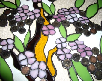 Window Panel with coins, Spring Tree suncatcher, Stained Glass tree, Fall Tree stainglass, Window Hanging suncatchers, Glass on Glass