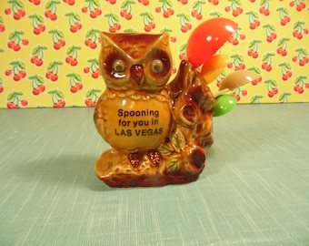 Vintage Measuring Spoon Set - Ceramic Owl - Ring Dish - Las Vegas Souvenir