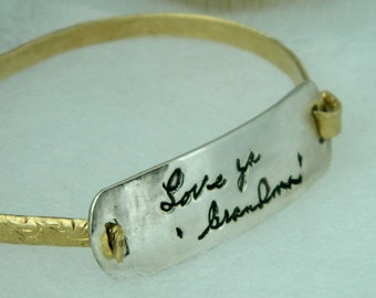 Handwriting Jewelry Signature in Memory Gold Silver Bracelet
