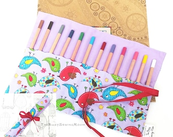 Pencil Roll - Birds on Lilac, Pencil Case, Crayon Roll, Gift, Pen Storage, Artist, School, College, University, Stationary