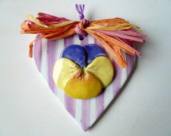 ceramic heart hanging decoration-Pansy ceramic heart wall-flower ceramic wall-decoration-Pansy