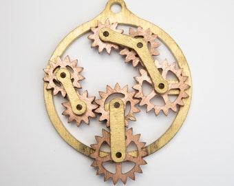 Steampunk Kinetic Floating Gear Machine Pendant.