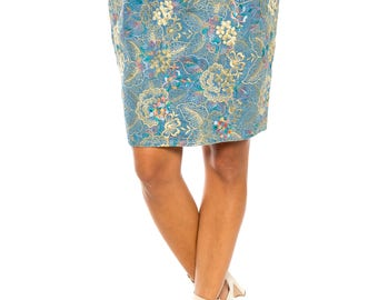 Embroidered Denim Pencil Skirt Size: 4