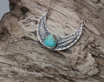 Moon Phase Necklace | Real Turquoise Necklace | Turquoise Moon Necklace | Sterling Silver Necklace | Moon Jewelry | Feather Jewelry