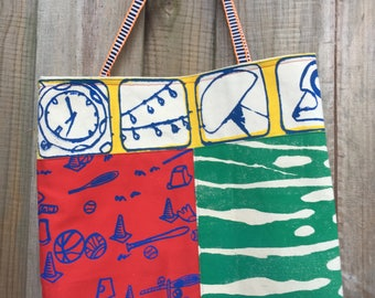 OOAK Handmade Bright Colorful Tote Bag