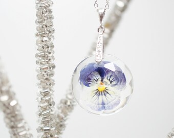 Real Pansy flower pendant and white gold plated silver  chain -  gift idea, botanical jewelry, nature pendant, under 30