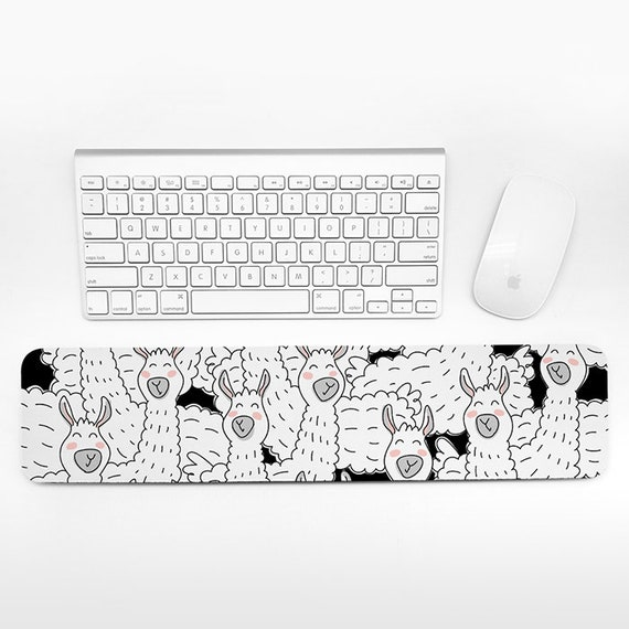 Llama Keyboard Wrist Pad Rest, Black and White Wrist Keyboard Rest, Alpaca Wrist Rest for Keyboard Pad, Cute Desk Office Decor for Men Women