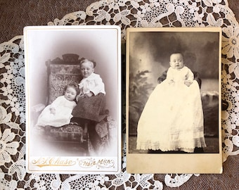 Identified Adorable Siblings - Antique Photo Cabinet Card - Hart Michigan