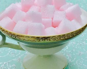 "Rose Water Flavored Sugar Cubes (120 +) Gift Bagged Rose Water Bitters Petite Tea/Coffee Sweetener Sugar Cubes ""Fuzzy Ducks"""