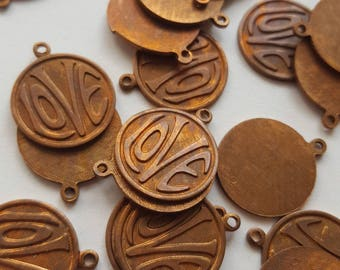 Vintage copper brass Love charms