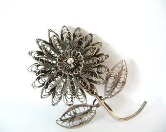 Vintage Filigree Flower Brooch Pin Silver Costume Jewelry from TreasuresOfGrace