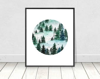 Pine Tree Forest Circle Art Print- Evergreen Tree Printable Art- Watercolor Painting- Circle Watercolor Painting Print- Nature Landscape Art