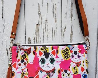 Pink Maneki Neko Lucky Cat Handbag - Japanese Kitten Bag Brown