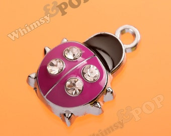 1 - Pink Ladybug Silver Tone Enamel and Rhinestone Charm, Ladybug Charm Pendant  (4-3B)
