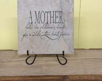 """A Mother Holds Her Children's Hands Laser Engraved Tile 13"""" x 13"""""""