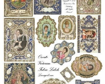 ANTIQUE LABELS digital collage sheet, Victorian sewing labels, Lace Ornate Fabric labels tags, vintage women ephemera, altered art DOWNLOAD