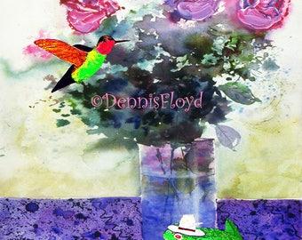 Bird & Frog, Rose Bouquet, Archival, Pigment Ink, Frog Balloons, Hummingbird, Art Print, Paper, Wood Block, Giclee Print