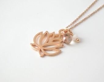 LOTUSFLOWER necklace rosegold/jade
