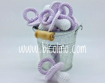 Lot 10 pacifiers crochet lilac