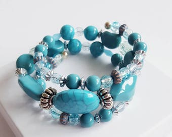 Turquoise wrap bracelet, beaded wrap bracelet, boho wrap bracelet, turquoise bracelet silver, turquoise boho bracelet, beaded bracelet stack