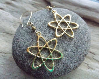 Atomic Symbol Earrings - Science Gold Atom Earrings- Chemistry Physics STEM Earrings- Geek Charm Earrings- Lab Tech Atom Earrings