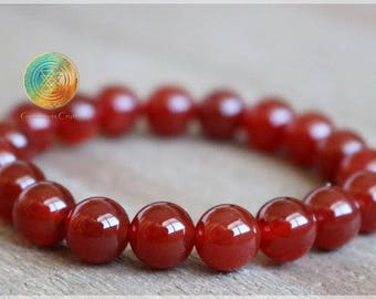 Carnelian Bracelet, 6mm Genuine Red Carnelian Bracelet, Beaded Gemstone Mala Stretch Bracelet, Womens or Mens Bracelet, Stone Jewelry
