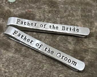 Custom Tie Bar Clips - Wedding Tie Bars - Hand Stamped Aluminum - Best Man - Father of Bride - Groomsmen - Father of Groom - Personalized