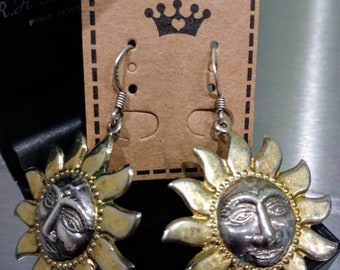 Vintage Silver & Gold Sun Earrings