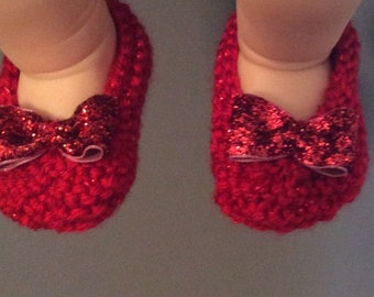 Newborn baby girl booties, ruby  red slippers