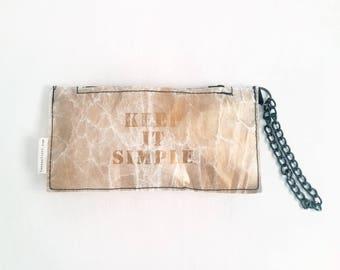gold evening bag, trendy handbag, clutch bag, tyvek handmade clutch, one of a kind bag, Hand painted, vegan zippered pouch, KEEP IT SIMPLE