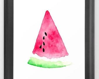 Watermelon Print, Watermelon Art, Watermelon Illustration, Watermelon, Summer Print, Summer Art, Wall Art, Wall Print, Printable