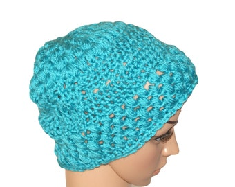 Blue Crochet Slouch Hat, Chunky Knit Hat, Adult Hat, Womens Crochet Hat, Blue Snow Hat, Mens Slouch Hat, Blue Hat, Slouch Beanie
