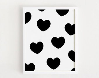 Heart pattern Printable INSTANT DOWNLOAD Poster baby room wall art decor Scandinavian nursery decals Black and white print Digital