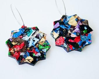 Fallen star large dangle / drop earrings   Kaleidoscope glitter   Laser cut acrylic   Handmade