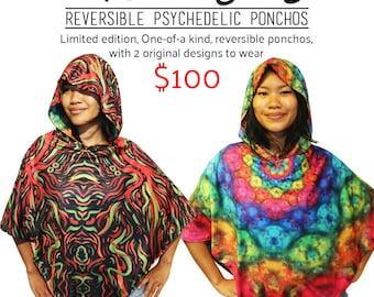 Psychedelic Reversible Poncho (Psychedelic Animals/Rainbow Mandala)