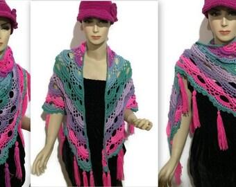 The Pink Aster shawl,crochet shawl,virus shawl,womans shawl,boho chic shawl,mandala shawl,