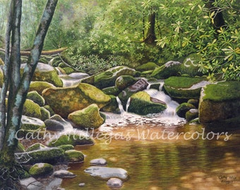 Roaring Fork, Smoky Mountains art watercolor landscape painting print by Cathy Hillegas, 12x16, green, gold, brown, waterfall art, laurel