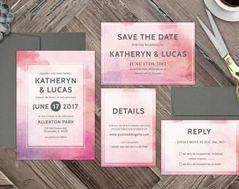 Blush Watercolor Wedding Invitation, Elegant Wedding Invitation, Water Color Wedding Invite, Modern Wedding Invitation, Watercolor Invite