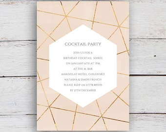 Geo Printable Gold Geometric and Watercolour Party Invitation - Nude Pink