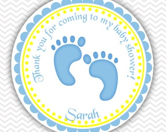 Baby Feet Blue - Personalized Stickers, Party Favor Tags, Thank You Tags, Gift Tags, Address labels, Baby Shower