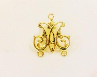 Vermeil, 18k gold over 925 sterling silver filigree connector , gold filigree connector