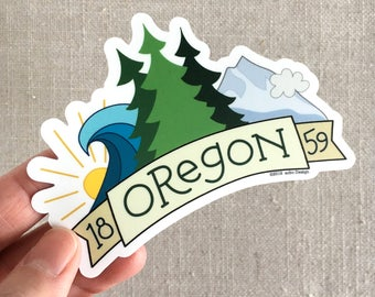 Oregon 1859 Vinyl Sticker / Illustrated Waterproof Sticker / Moutains Trees Ocean / Cool Laptop Sticker / Modern Sticker / Travel Sticker