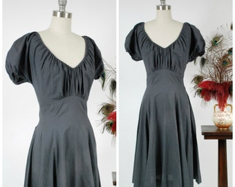 Vintage 1950s Dress -  Summer 2018 Lookbook - Classic 50s Peasant Dress with Wide, Gathered Neckline and Flared Skirt in Pewter Grey