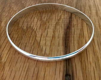 Thick Silver Bangle, Solid Silver Bangle, 6mm wide bangle, Silver domed bangle, D Wire bangle, Substantial bangle, Wide silver bangle