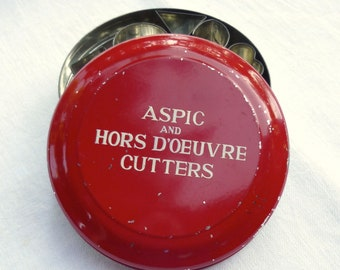 Vintage Cutter Set for Cookies and Hor D'oerves - Red Tin of Aspic or Sandwich Cutters from England
