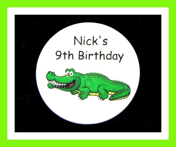 Birthday Party Favor Personalized Button, Alligator Pin Favor,School Favor,Kid Party Favor,Boy Birthday,Girl BirthdayPin,Favor Tag Set of 10
