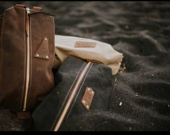 Waxed canvas bag, Toiletry Bag, Dopp Kit, Travel Bag,