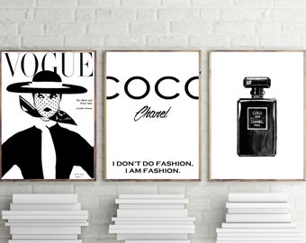 Coco chanel prints, set of 3 wall art, fashion poster, coco noir decor, black perfume print, vogue magazine wall decor, quote print